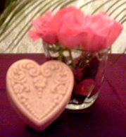 Heart shaped rose soap